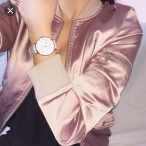 Rose gold satin silky bomber jacket seen on kylie
